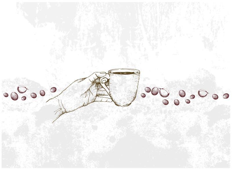 拿着杯热的咖啡的手拉手 库存例证