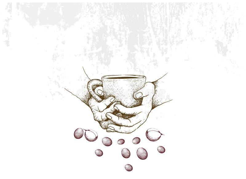 拿着杯热的咖啡的手拉手 向量例证