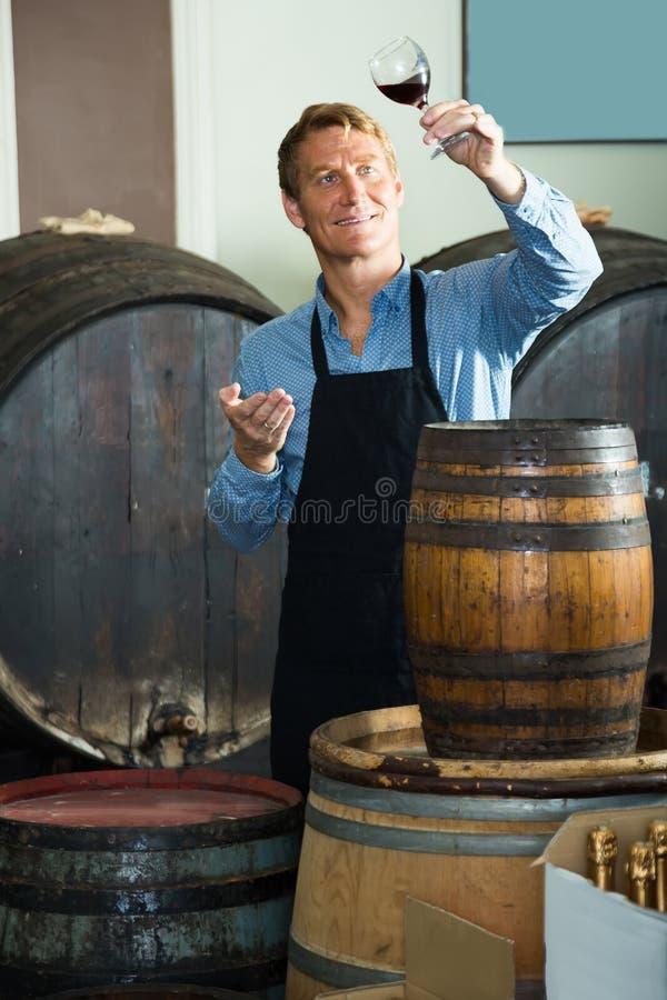 拿着杯酒的酿酒商在地窖里 免版税库存照片