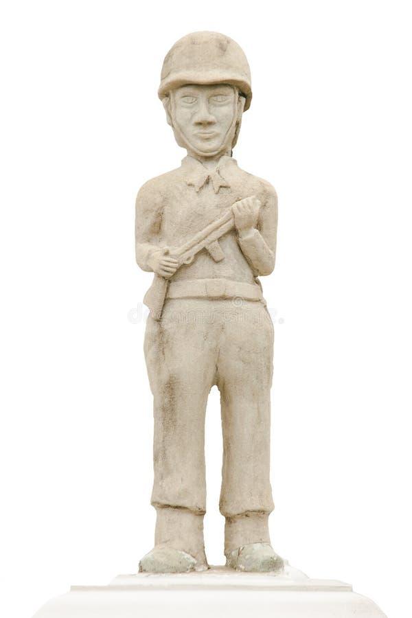 拿着枪的战士身分的雕象 库存照片