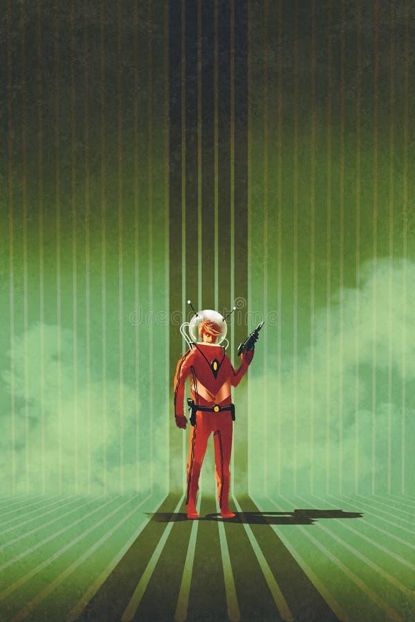 拿着枪的红色衣服的超级英雄 皇族释放例证