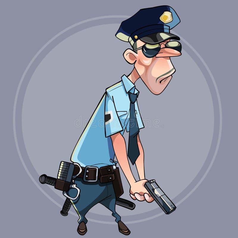 拿着枪的警察制服的动画片严肃的人 皇族释放例证