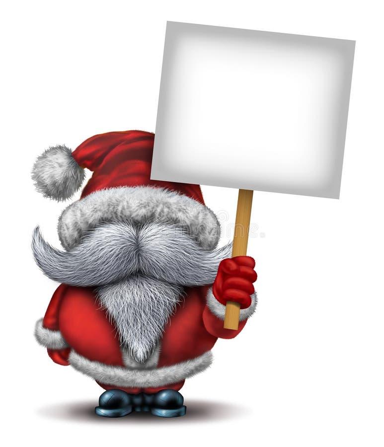 拿着标志的圣诞老人 向量例证