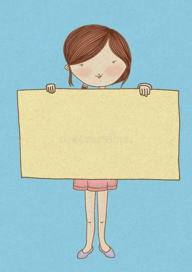 拿着标志的女孩 免版税库存图片