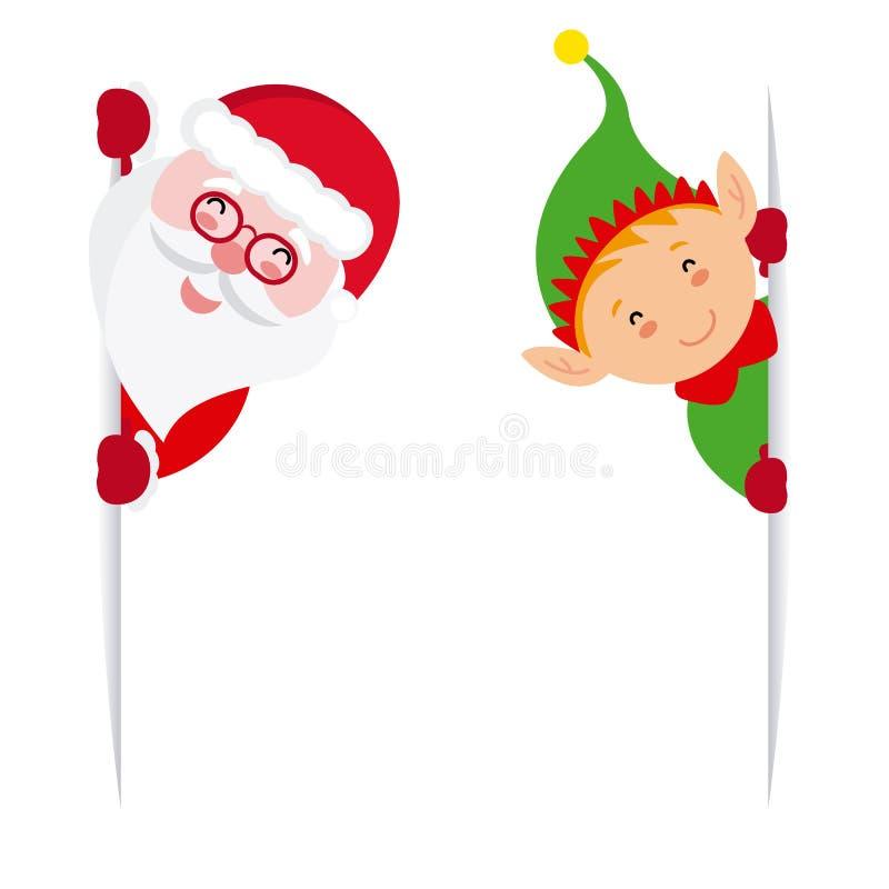 拿着标志的矮子和圣诞老人 库存例证