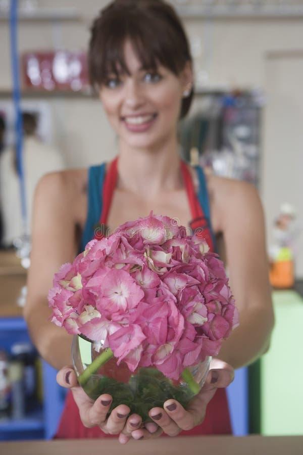 拿着桃红色八仙花属的女性卖花人 免版税库存照片