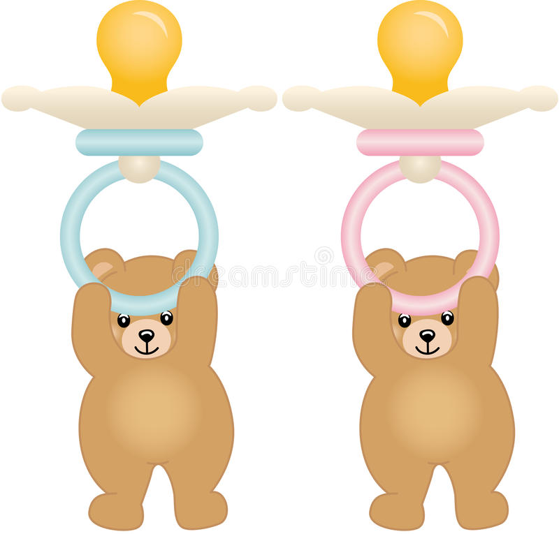 拿着桃红色和蓝色婴儿安慰者的玩具熊 库存例证