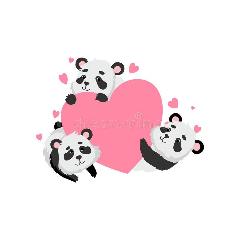 拿着桃红色心脏,愉快的可爱的动物字符传染媒介例证的逗人喜爱的熊猫 皇族释放例证