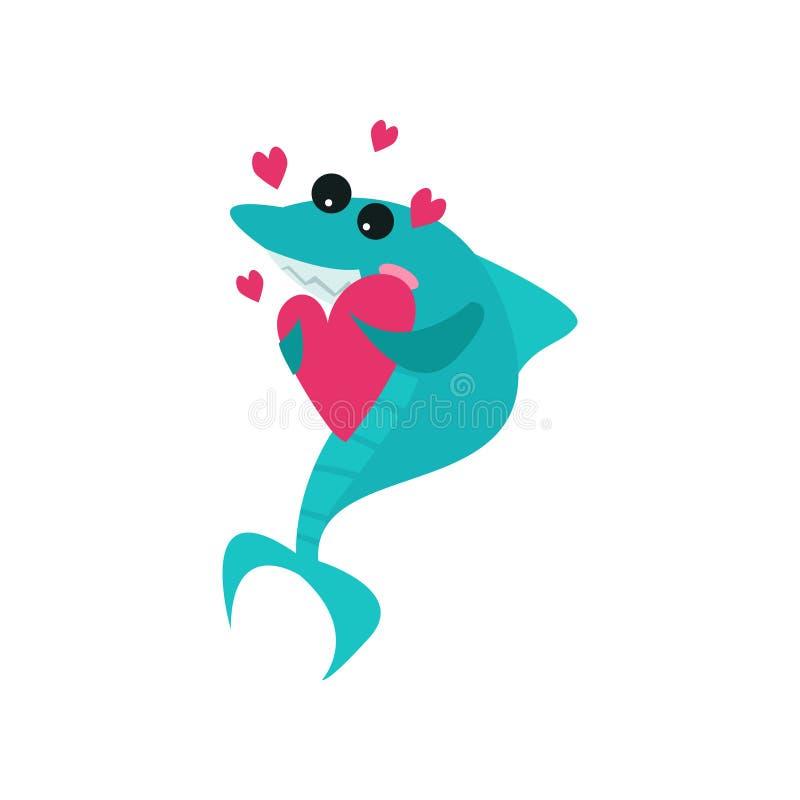 拿着桃红色心脏,滑稽的蓝色鱼动画片传染媒介例证的逗人喜爱的快乐的鲨鱼漫画人物 库存例证