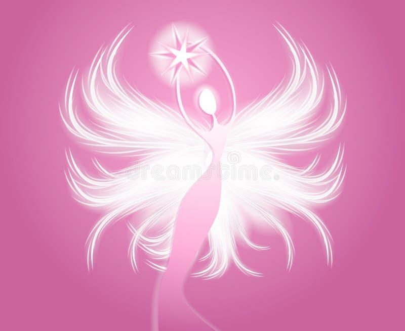 拿着桃红色星形的天使形象 向量例证