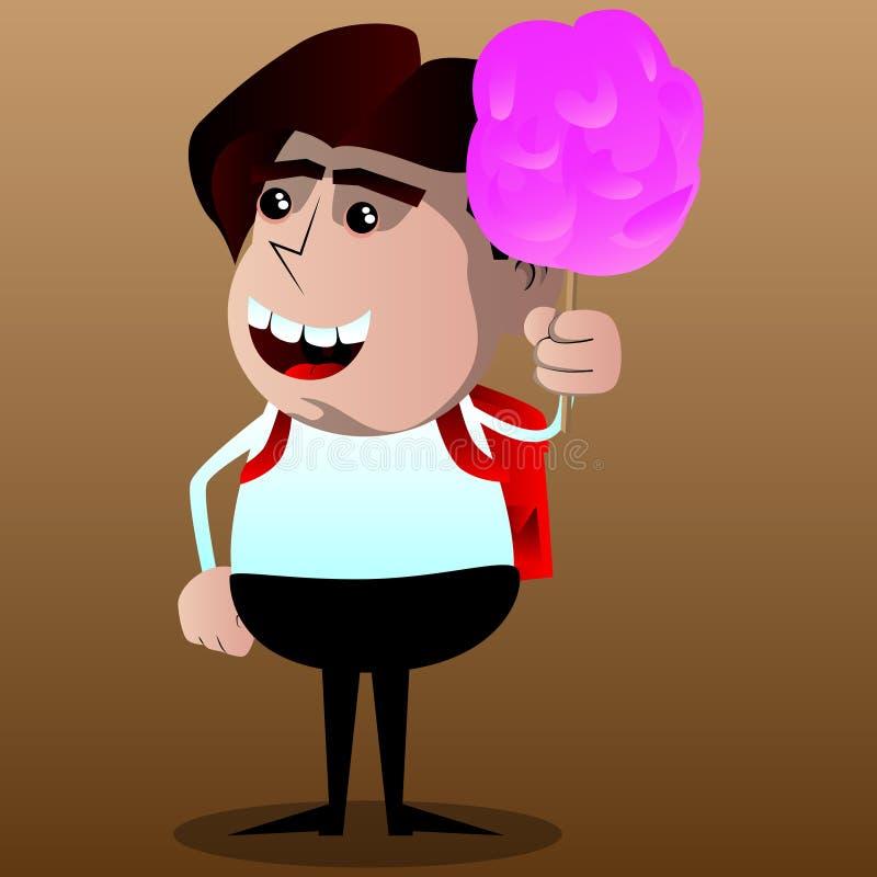 拿着桃红色棉花糖的男小学生 向量例证