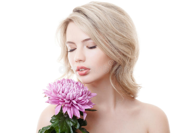 拿着桃红色菊花的美丽的妇女 图库摄影
