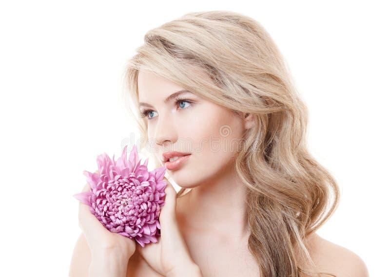 拿着桃红色菊花的美丽的妇女 库存图片