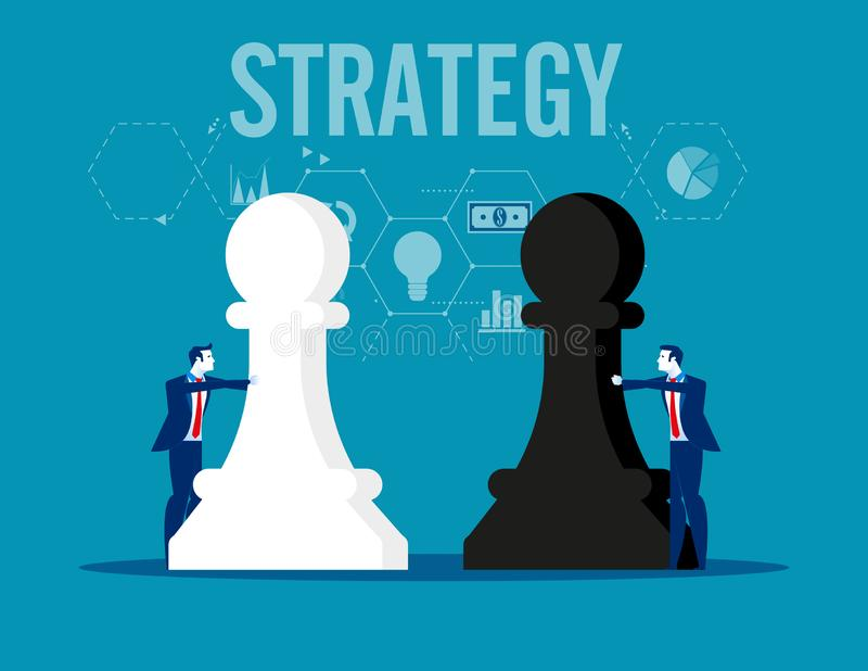 ?? 拿着棋形象的企业队 r 向量例证