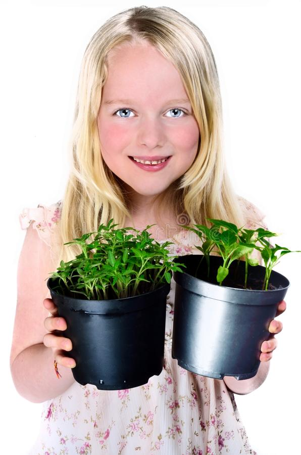 拿着植物的女孩 免版税图库摄影