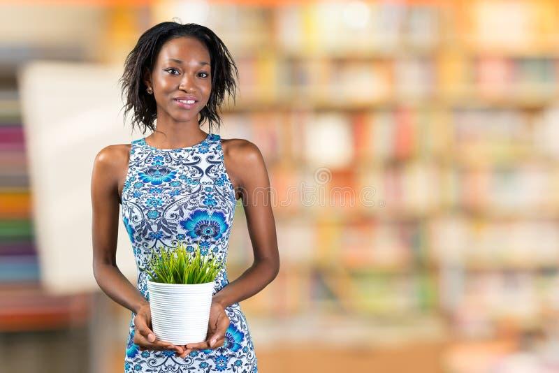 拿着植物的非洲妇女 库存照片