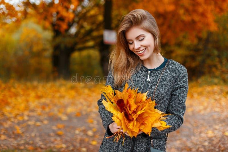 拿着槭树黄色叶子的花束时髦典雅的灰色外套的俏丽的愉快的年轻时髦的美女 库存图片