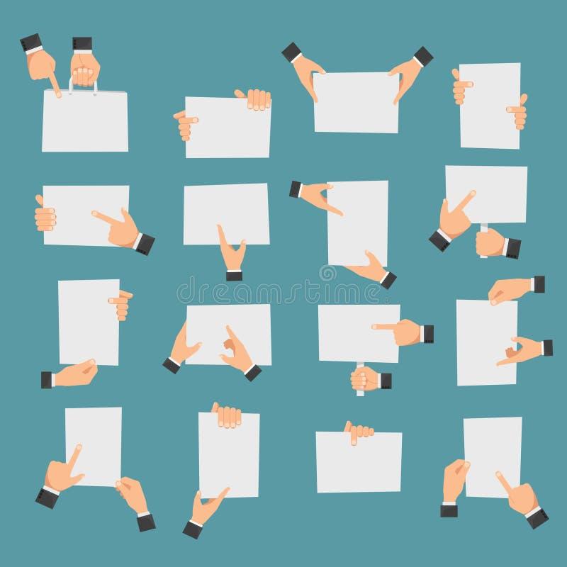 拿着横幅和指向空的纸片断的平的手 向量例证