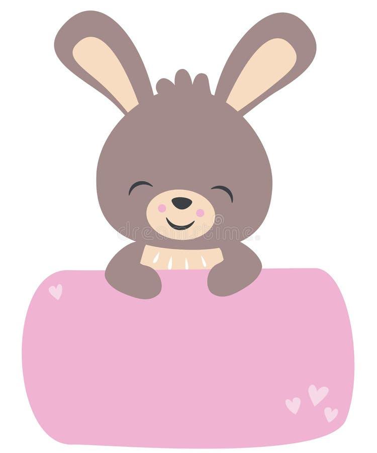 拿着横幅淡色平的传染媒介例证的逗人喜爱的小的Kawaii样式小兔子被隔绝在白色 皇族释放例证