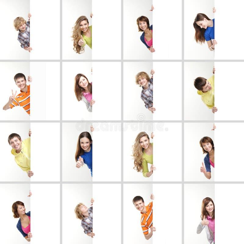 拿着横幅的不同的少年拼贴画  库存照片