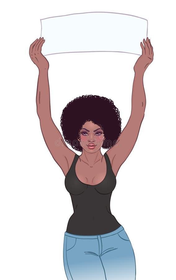 拿着横幅的年轻非裔美国人的女孩 女权抗议骗局 皇族释放例证