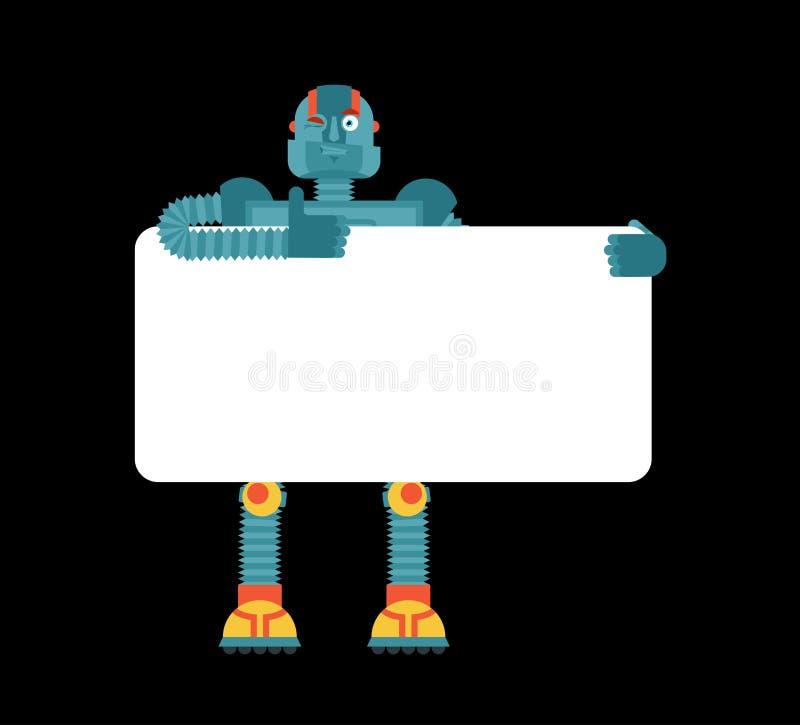 拿着横幅空白的机器人 靠机械装置维持生命的人和白色空白 机器人人 库存例证
