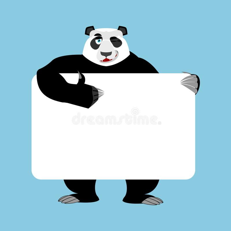 拿着横幅空白的熊猫 中国人熊和白色空白 敌意 库存例证