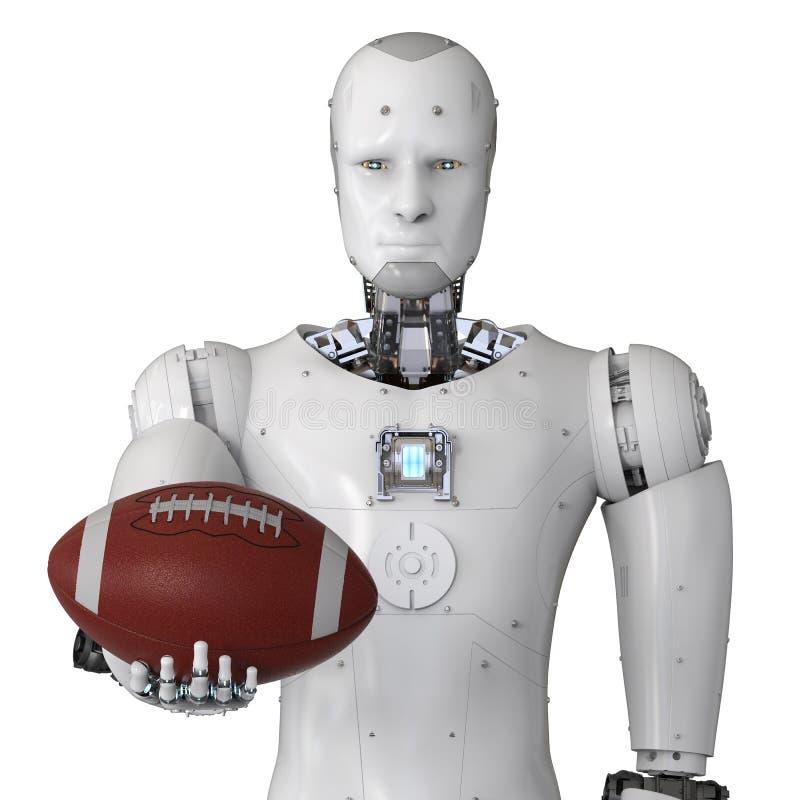 拿着橄榄球球的机器人 向量例证