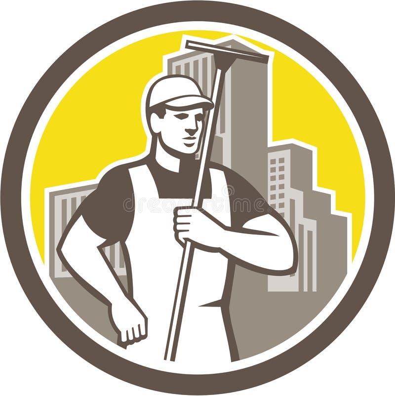 拿着橡皮刮板圈子的风窗清洁器工作者 向量例证