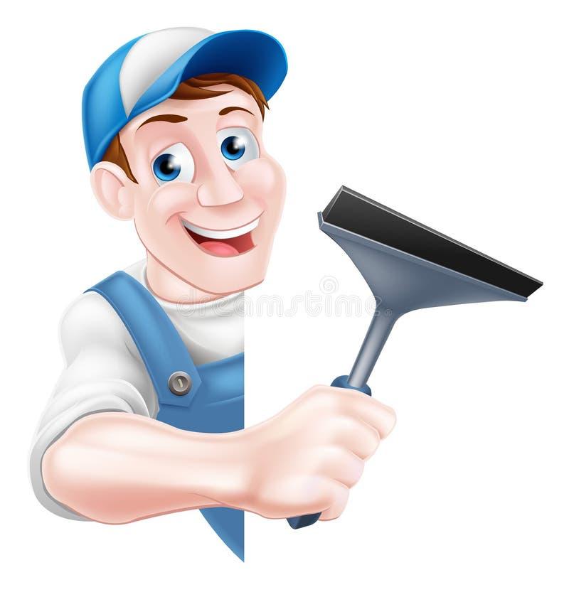拿着橡皮刮板的风窗清洁器 向量例证