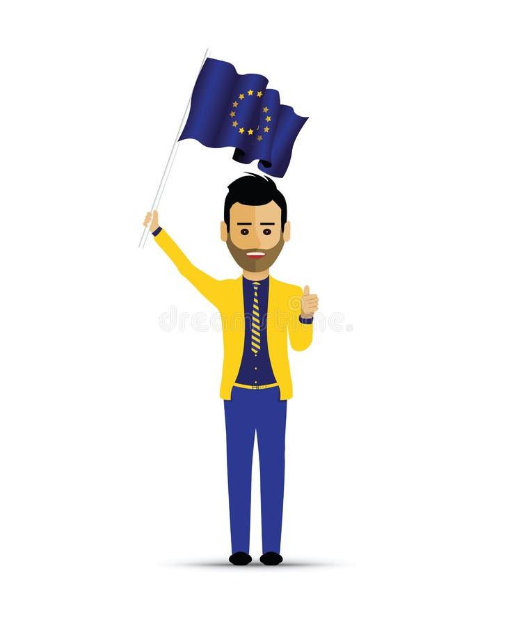 拿着欧洲旗子的人 向量例证