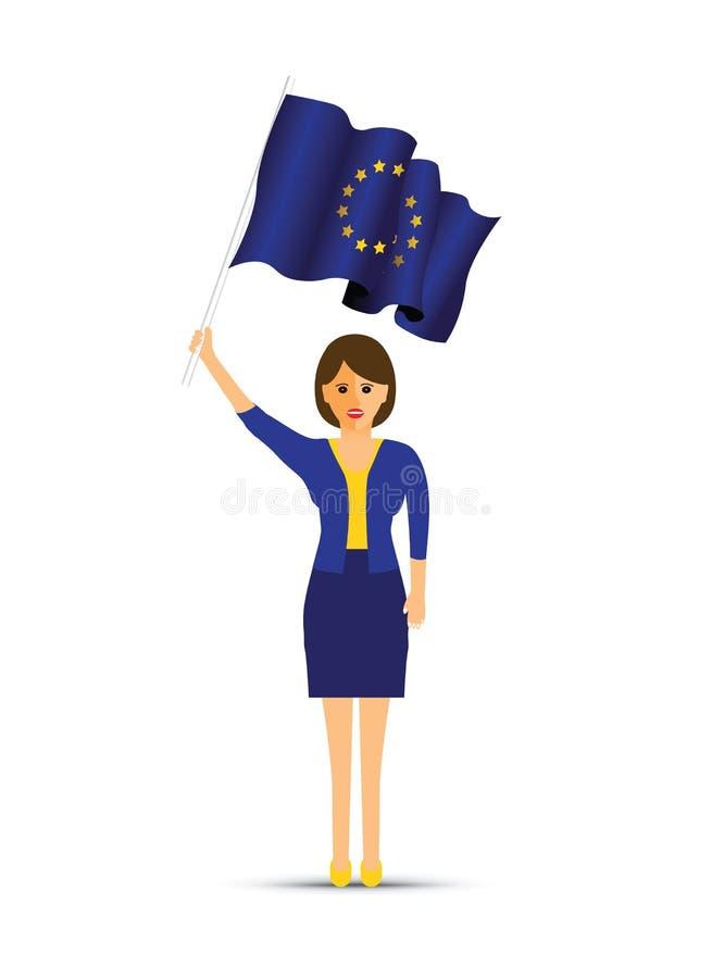 拿着欧洲旗子的妇女 库存例证