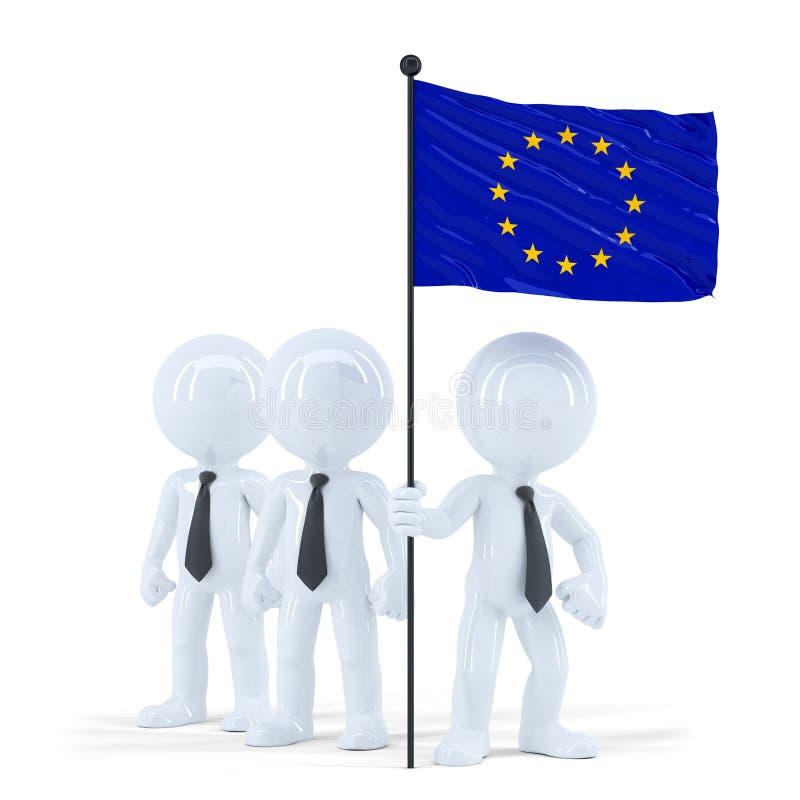 拿着欧盟的旗子企业队 查出与裁减路线 向量例证