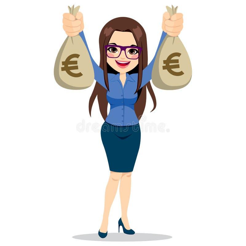 拿着欧洲金钱袋子的女实业家 向量例证