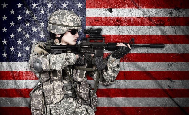 拿着步枪的战士 图库摄影
