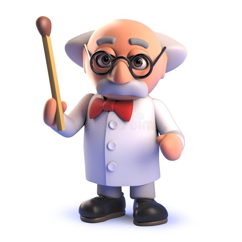 拿着比赛的动画片3d疯狂的教授科学家字符 向量例证