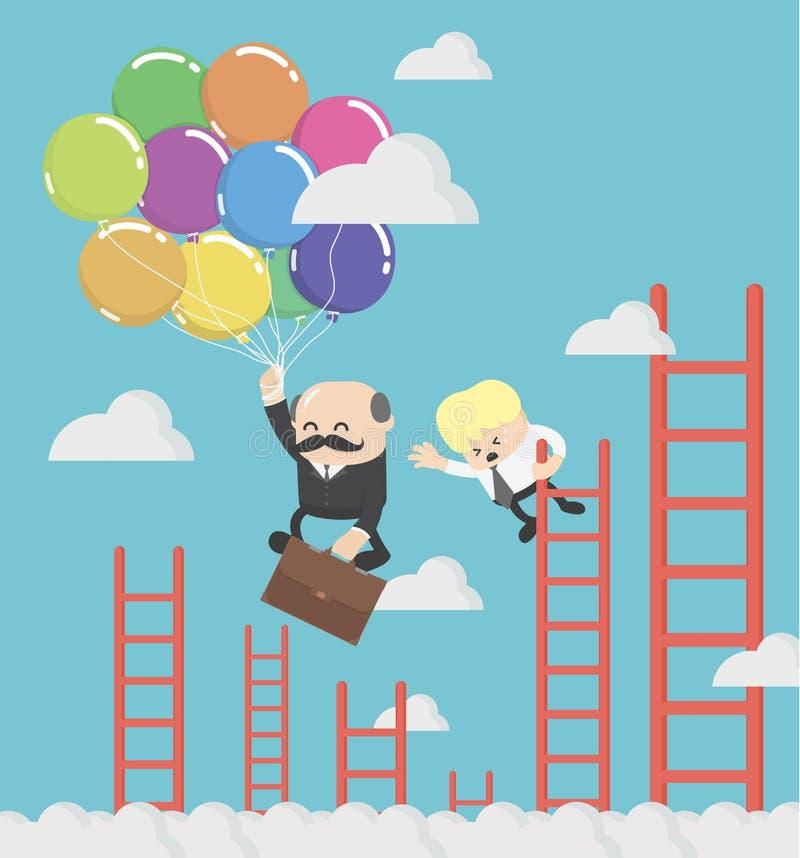 拿着气球的愉快的商人飞行通过另一事务 库存例证