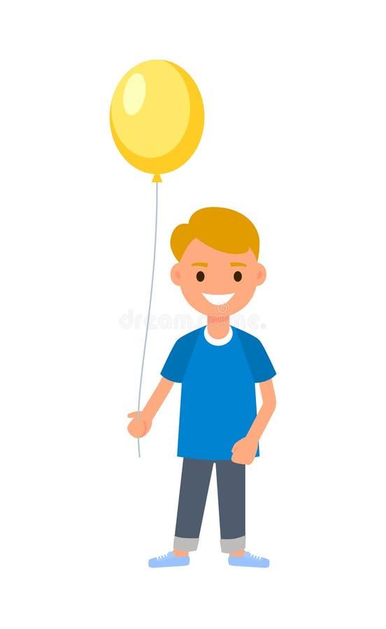 拿着气球的男孩 愉快的卡通人物祝贺生日,新年,母亲节 向量 库存例证