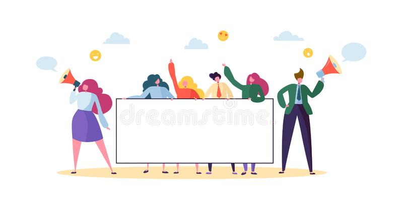 拿着水平的空的横幅的企业队 有空白的广告牌的愉快的人 配合广告概念 向量例证