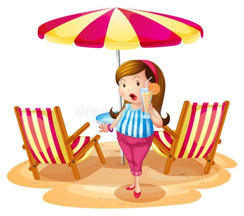 拿着汁液的一个肥胖女孩在有椅子的沙滩伞附近 向量例证