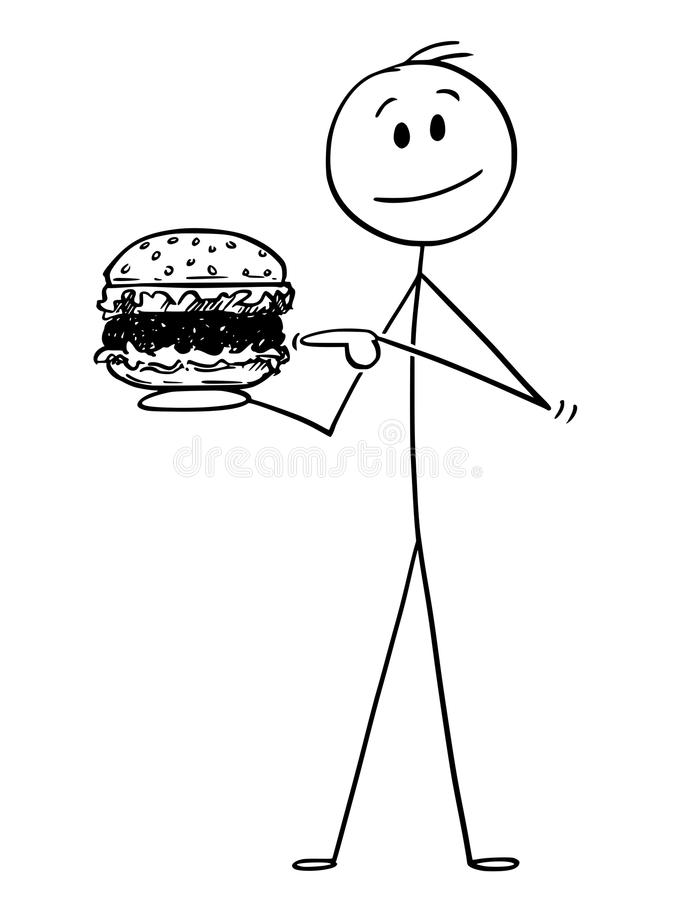 拿着汉堡包的微笑的人动画片 向量例证
