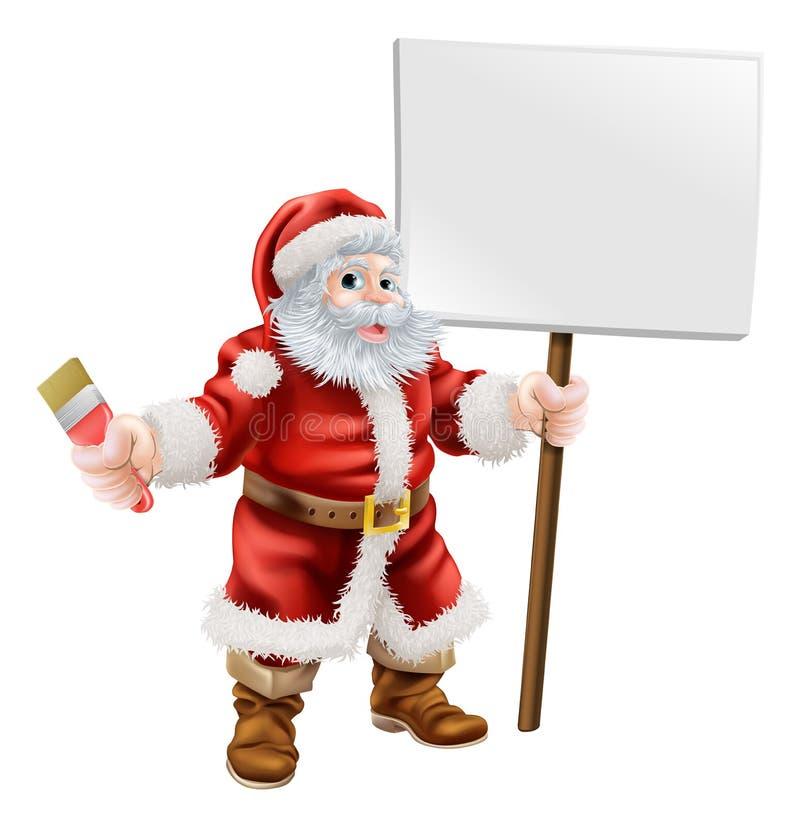 拿着油漆刷和标志的圣诞老人 库存例证