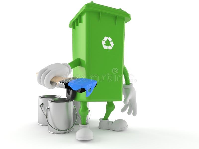 拿着油漆刷的垃圾箱字符 向量例证