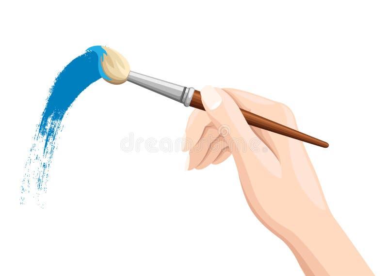 拿着油漆刷的手 掠过在白色的绘画 蓝色油漆 在白色背景隔绝的传染媒介平的例证 向量例证