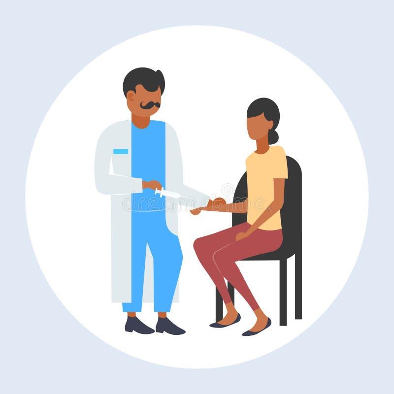 拿着注射器的医生充分给射入疫苗射击妇女患者接种医疗保健医学概念 库存例证