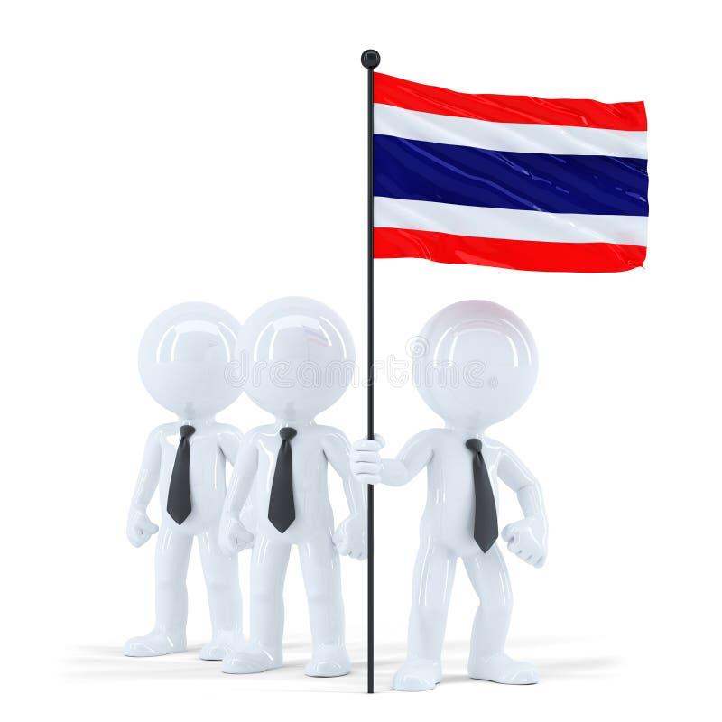 拿着泰国的旗子的企业队 查出与裁减路线 皇族释放例证
