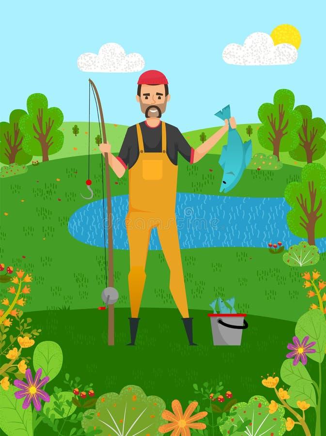 拿着派克、鱼和标尺,爱好传染媒介的渔夫 向量例证