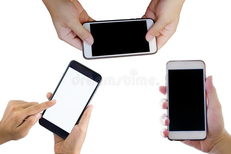 拿着流动巧妙的电话的套3手 免版税库存照片