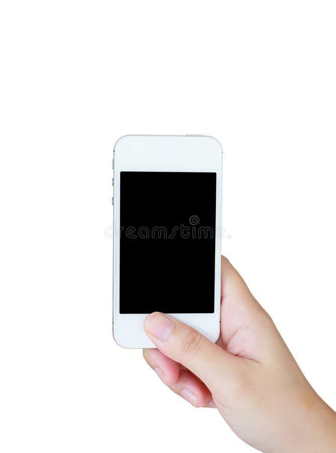 拿着流动智能手机的手被隔绝在白色 库存图片