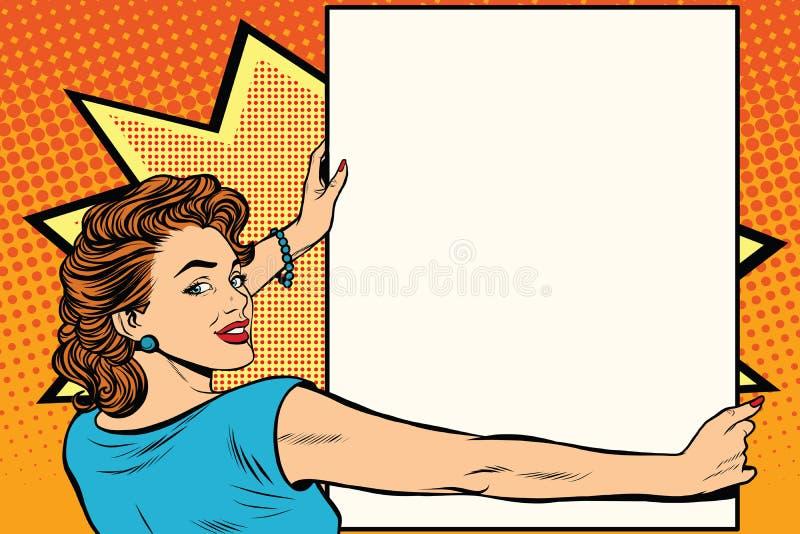 拿着海报的流行艺术妇女 向量例证